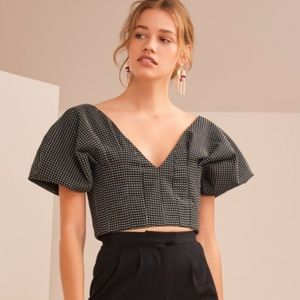Tops - Puff Sleeve Polka Dot Crop Top